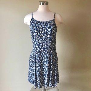 Vintage 90s Navy Ditzy Floral Mini Slip Dress